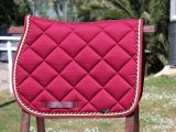 Horse Underseat burgundy with double braid gold / burgundy braid
